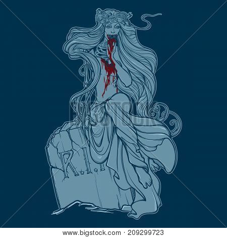 Dead bride. Zombie girl with a sewn up mouth, blood stained hands and dress sitting on a toumbstone. Monochrome Linear drawing isolated on blue background. EPS10 vector illustration