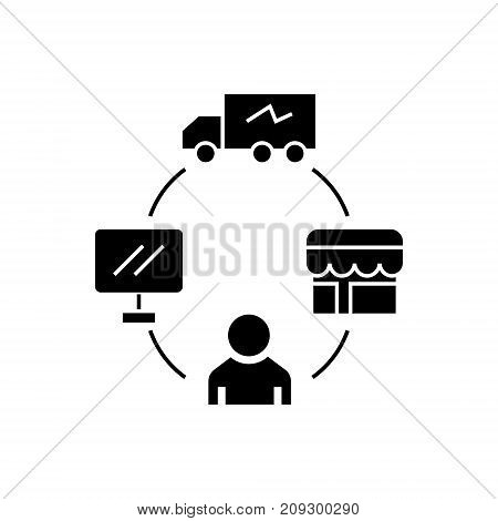 dropshipping - drop ship - logistics icon, illustration, vector sign on isolated background