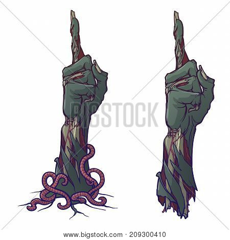 Zombie body language. Pointing finger up. lifelike depiction of the rotting flash with ragged skin, protruding bones and cracked nails. Painted linear drawing isolated on white background EPS10 vector