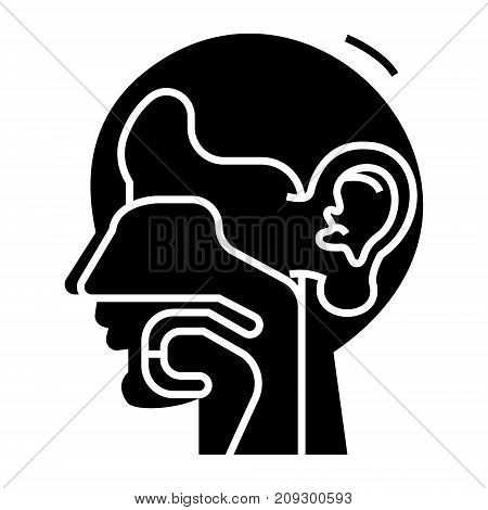 ear, nose, and throat - ent icon, illustration, vector sign on isolated background