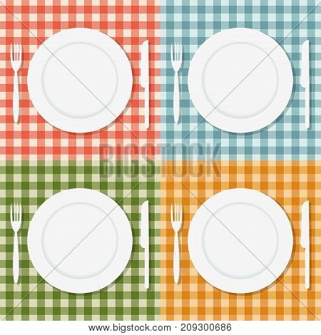 Empty plate, fork and knife on different cloth. Vector Illustration.