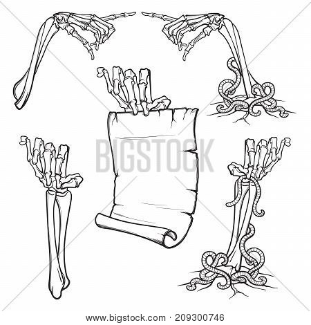 Halloween design elements. Set of skeleton hands pointing with a finger and holding a banner. linear drawing isolated on white background. EPS10 vector illustration