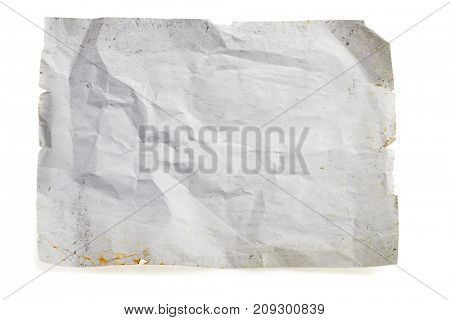 Old rough grunge paper template with drops and dirty crack pattern. Work path
