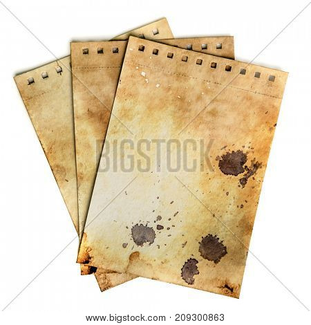 Dirty notebook pages. Old rough grunge paper template with drops and dirty crack pattern. Work path