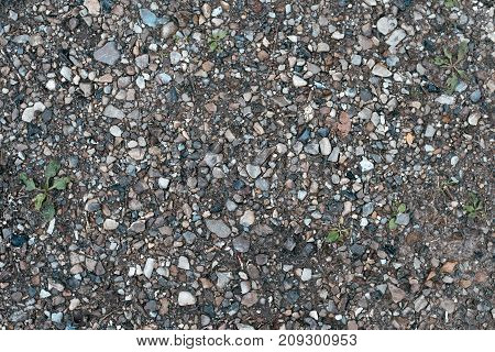 Stones on the ground, background and texture in form with a rocky surface on top. Gravel in the summer on the site. Garbage on the ground in autumn after the rain.