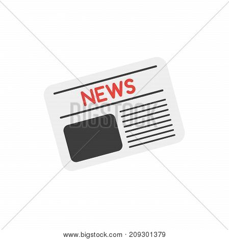 Vector illustration grey newspaper icon front page with red news text and shapes symbolize news picture and writing on white background with flat design style.