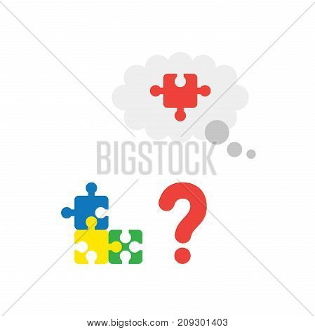 Vector Concept Of Blue, Yellow, Green And Missing Piece Of Red Puzzle In Thought Bubble With Questio