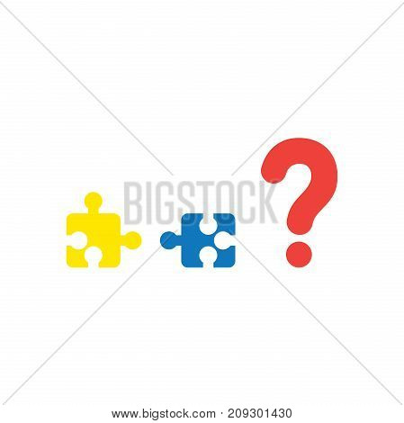 Vector Concept Two Pieces Of Puzzle That Are Incompatible With Each Other And Question Mark On White