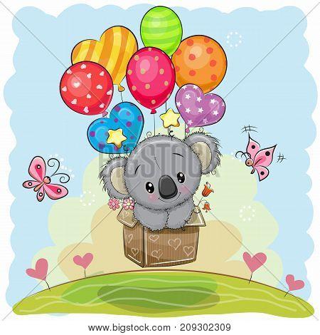 Cute Cartoon Koala in the box is flying on balloons