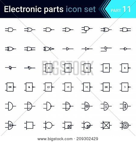 Complete vector set of electric and electronic circuit diagram symbols and elements - digital electronics, logic gate (ansi system, british system, din system, nema system)