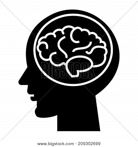 brain head - brainstorm in mind icon, illustration, vector sign on isolated background