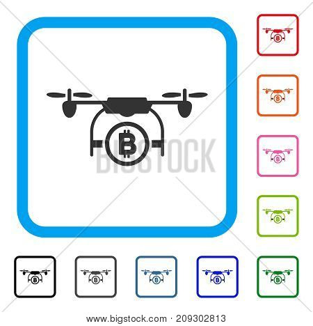 Bitcoin Airdrone icon. Flat grey pictogram symbol inside a light blue rounded frame. Black, gray, green, blue, red, orange color additional versions of Bitcoin Airdrone vector.