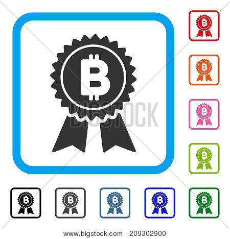 Bitcoin Award Seal icon. Flat grey iconic symbol in a light blue rounded rectangle. Black, gray, green, blue, red, orange color additional versions of Bitcoin Award Seal vector.