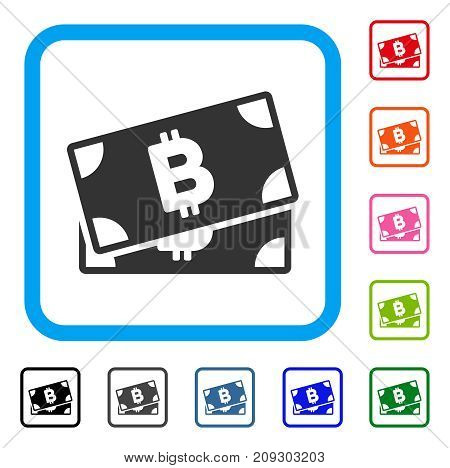 Bitcoin Banknotes icon. Flat grey iconic symbol in a light blue rounded square. Black, gray, green, blue, red, orange color additional versions of Bitcoin Banknotes vector.