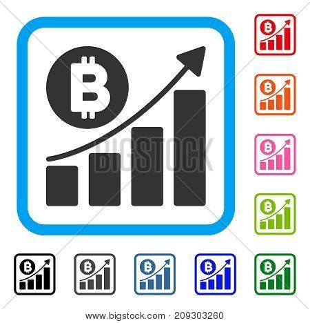 Bitcoin Bar Chart Trend icon. Flat gray iconic symbol inside a light blue rounded rectangular frame. Black, gray, green, blue, red, orange color versions of Bitcoin Bar Chart Trend vector.