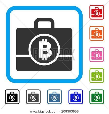 Bitcoin Case icon. Flat grey pictogram symbol inside a light blue rounded squared frame. Black, gray, green, blue, red, orange color variants of Bitcoin Case vector.