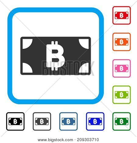 Bitcoin Cash Banknote icon. Flat gray pictogram symbol inside a light blue rounded rectangle. Black, gray, green, blue, red, orange color additional versions of Bitcoin Cash Banknote vector.