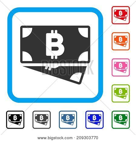 Bitcoin Cash Banknotes icon. Flat grey iconic symbol in a light blue rounded frame. Black, gray, green, blue, red, orange color versions of Bitcoin Cash Banknotes vector.