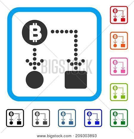 Bitcoin Cashflow icon. Flat gray iconic symbol inside a light blue rounded rectangular frame. Black, gray, green, blue, red, orange color variants of Bitcoin Cashflow vector.