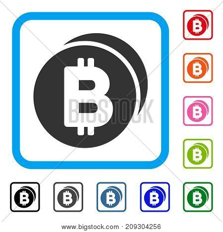 Bitcoin Coins icon. Flat gray pictogram symbol in a light blue rounded frame. Black, gray, green, blue, red, orange color additional versions of Bitcoin Coins vector. Designed for web and app UI.
