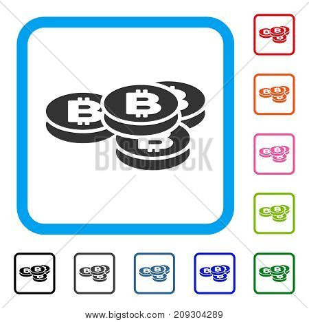 Bitcoin Coins icon. Flat gray pictogram symbol in a light blue rounded frame. Black, gray, green, blue, red, orange color additional versions of Bitcoin Coins vector.