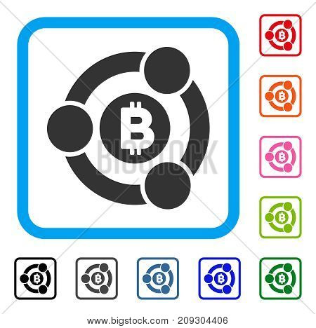 Bitcoin Collaboration icon. Flat gray pictogram symbol in a light blue rounded rectangle. Black, gray, green, blue, red, orange color variants of Bitcoin Collaboration vector.