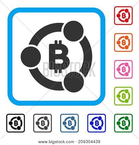 Bitcoin Collaboration icon. Flat grey iconic symbol in a light blue rounded rectangle. Black, gray, green, blue, red, orange color variants of Bitcoin Collaboration vector.