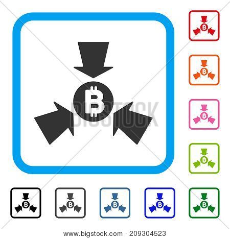 Bitcoin Collect Arrows icon. Flat grey iconic symbol inside a light blue rounded square. Black, gray, green, blue, red, orange color variants of Bitcoin Collect Arrows vector.