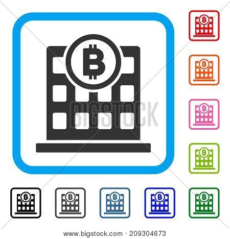 Bitcoin Corporation Building icon. Flat grey iconic symbol inside a light blue rounded squared frame. Black, gray, green, blue, red, orange color variants of Bitcoin Corporation Building vector.