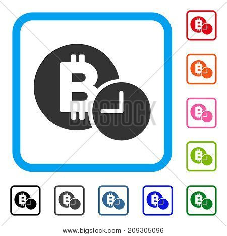 Bitcoin Credit Time icon. Flat grey iconic symbol in a light blue rounded rectangular frame. Black, gray, green, blue, red, orange color additional versions of Bitcoin Credit Time vector.