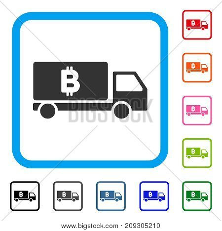 Bitcoin Delivery Car icon. Flat gray iconic symbol inside a light blue rounded rectangle. Black, gray, green, blue, red, orange color versions of Bitcoin Delivery Car vector.