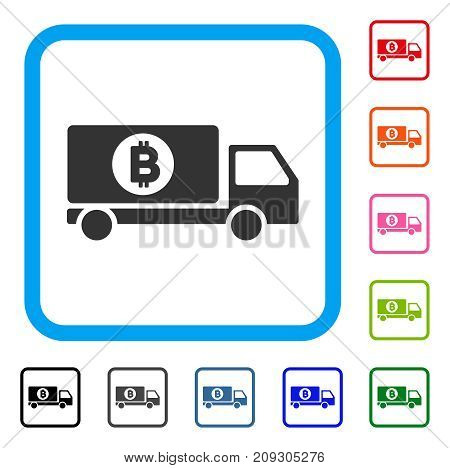 Bitcoin Delivery Lorry icon. Flat grey iconic symbol in a light blue rounded frame. Black, gray, green, blue, red, orange color variants of Bitcoin Delivery Lorry vector.