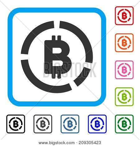 Bitcoin Diagram icon. Flat grey pictogram symbol in a light blue rounded rectangle. Black, gray, green, blue, red, orange color versions of Bitcoin Diagram vector.