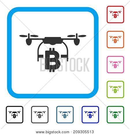 Bitcoin Drone Delivery icon. Flat grey pictogram symbol inside a light blue rounded rectangle. Black, gray, green, blue, red, orange color variants of Bitcoin Drone Delivery vector.