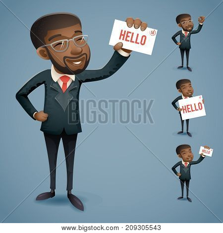Cartoon Afro American Icons Set African European Businessman Character Presentation Call Demonstration Card Greeting Banking Vintage Hand Icon Retro Cartoon Design Vector Illustration