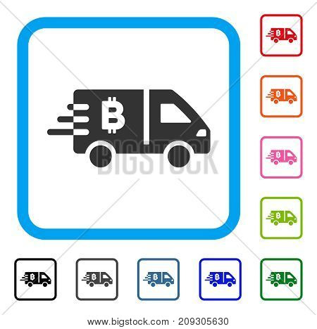 Bitcoin Express Car icon. Flat grey pictogram symbol in a light blue rounded square. Black, gray, green, blue, red, orange color variants of Bitcoin Express Car vector.