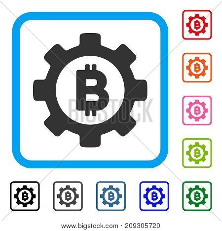 Bitcoin Gear icon. Flat gray pictogram symbol inside a light blue rounded rectangular frame. Black, gray, green, blue, red, orange color variants of Bitcoin Gear vector.