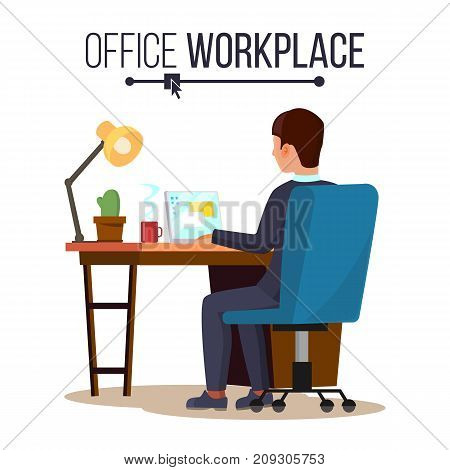 Office Workplace Concept Vector. Business Man Or Clerk Working At Office Desk. Flat Style Color Modern Vector