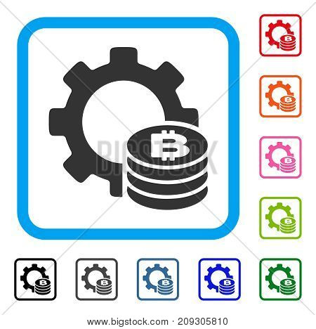 Bitcoin Industry Gear icon. Flat gray pictogram symbol inside a light blue rounded rectangle. Black, gray, green, blue, red, orange color additional versions of Bitcoin Industry Gear vector.