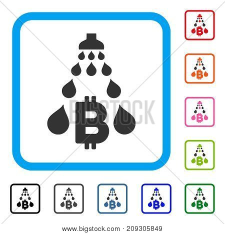 Bitcoin Laundering Shower icon. Flat gray pictogram symbol inside a light blue rounded square. Black, gray, green, blue, red, orange color versions of Bitcoin Laundering Shower vector.
