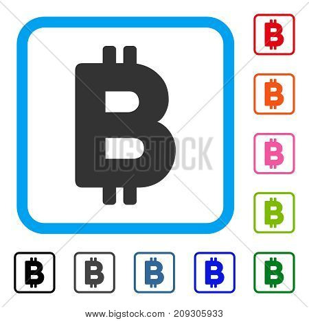 Bitcoin Letter icon. Flat grey pictogram symbol in a light blue rounded square. Black, gray, green, blue, red, orange color additional versions of Bitcoin Letter vector.