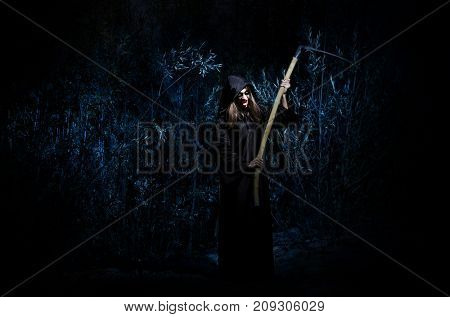Woman with braid in forest
