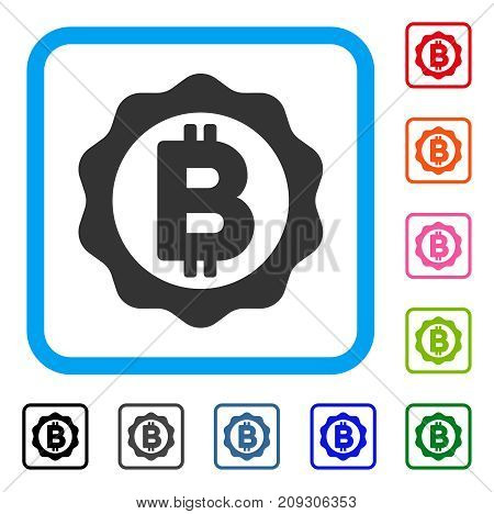 Bitcoin Medal Seal icon. Flat gray pictogram symbol inside a light blue rounded rectangular frame. Black, gray, green, blue, red, orange color additional versions of Bitcoin Medal Seal vector.
