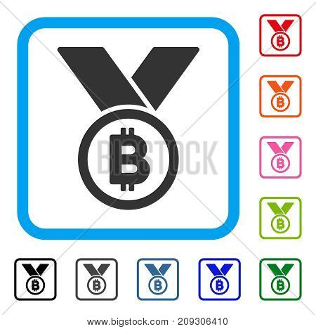 Bitcoin Medal With Ribbons icon. Flat grey pictogram symbol inside a light blue rounded rectangle. Black, gray, green, blue, red, orange color versions of Bitcoin Medal With Ribbons vector.
