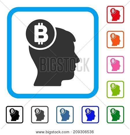 Bitcoin Mind Head icon. Flat grey iconic symbol in a light blue rounded rectangle. Black, gray, green, blue, red, orange color variants of Bitcoin Mind Head vector.