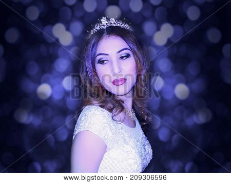 photography with scene of the girl in wedding gown in blue tone