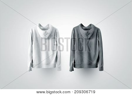 Blank black and white sweatshirt mockup set, back side view. Empty sweat shirt mock up, backwards. Clear cotton hoody template. Plain textile hoodie. Loose overall jumper dress for printing.