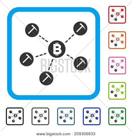 Bitcoin Mining Pool icon. Flat gray pictogram symbol inside a light blue rounded rectangular frame. Black, gray, green, blue, red, orange color variants of Bitcoin Mining Pool vector.