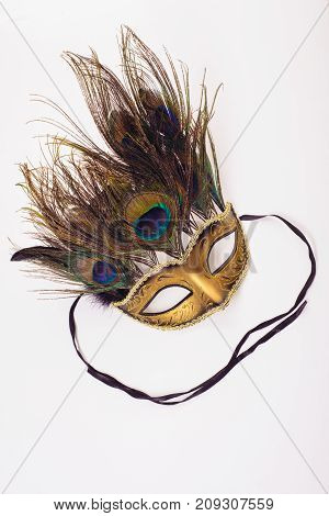 Gold A Carnival Mask With Feathers