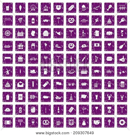 100 beer party icons set in grunge style purple color isolated on white background vector illustration